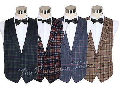 New Mens Designer Wool Tartan Check Waistcoat Lapel 4 Button 3 Pockets 38-48