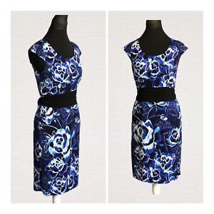 Jacques-Vert-Shift-Vestido-Talla-8-Azul-De-Manga-Corta-Estampada-Con-Cinturon-evento-inteligente