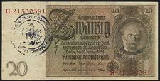 Ro.174e 20 Reichsmark 1929 (3) belgischer Gemeindestempel