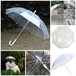 0371a8ba3 Image is loading Long-Transparent-Clear-Rain-Umbrella-Parasol-PVC-Dome-