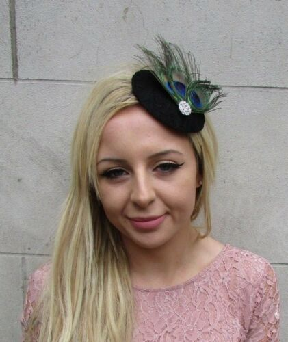Black Silver Green Peacock Feather Pillbox Hat Fascinator Hair Clip Races 6263