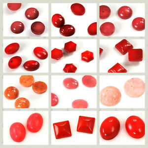 Red-Pink-Orange-Coral-Oval-Square-Half-Round-Hexagon-Sponge-Cabochon-pick-style