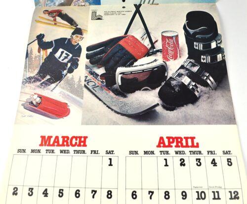 Coca-Cola Kalender 1980 USA Coke Calendar Motiv Olypiade Moskau Lake Placid