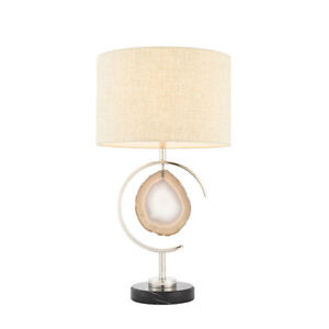 ENDON-AGATA-Lampada-da-tavolo-40W-E27-GLS-nichel-lucido-Pietra-tessuto-Shade