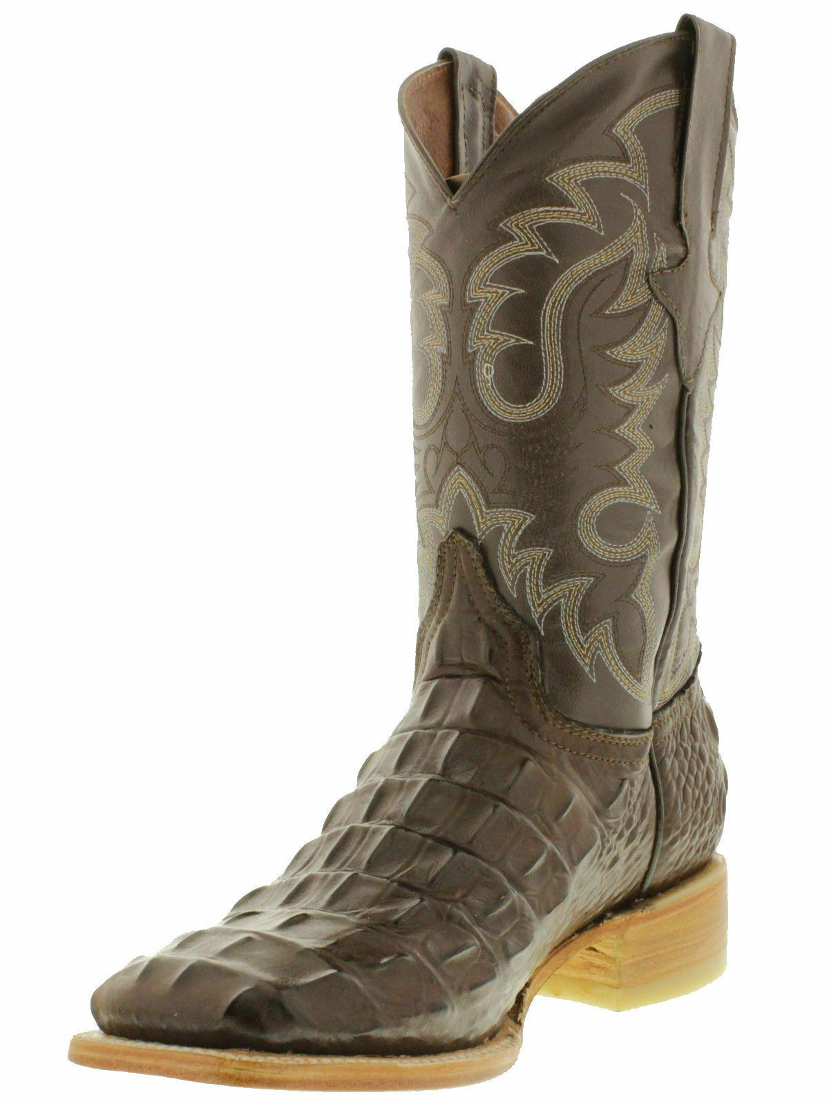 Para hombres cuero nuevo diseño cola de cocodrilo Western Cowboy Rodeo Cuadrado botas Marrón