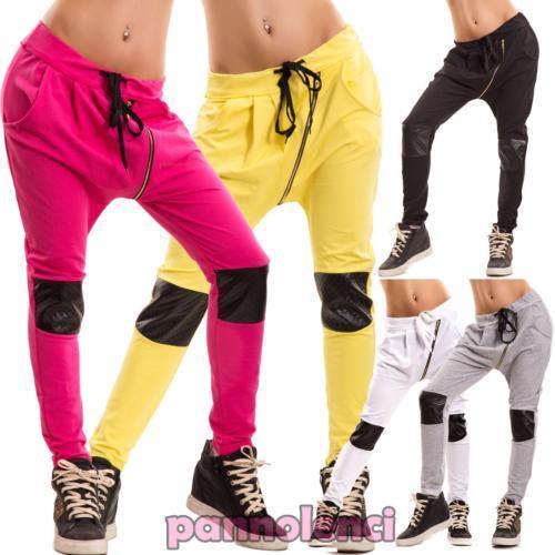 Pantalons Femme Fitness Jogging Inserts Cuir Écologique Turc Entrejambe Bas