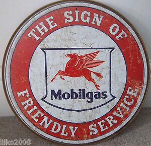 MOBIL-MOBILGAS-SERVICE-ROUND-12-034-METAL-WALL-SIGN-PETROL-GAS-DINER-GARAGE
