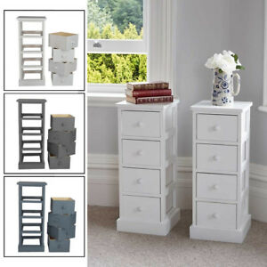 Image Is Loading 4 Drawer Pair Slim Tall Bedside Tables White