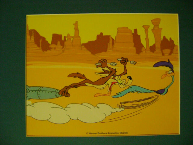 MATTED WILE E WIL E COYOTE AND ROAD RUNNER CEL ANIMATION  ART CELL