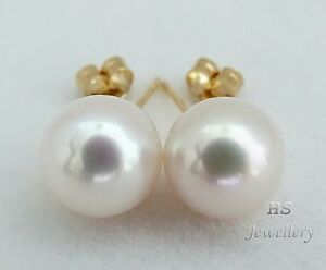 HS-South-Sea-Cultured-Pearl-11-08mm-Stud-Earrings-14K-Yellow-Gold-Top-Grading