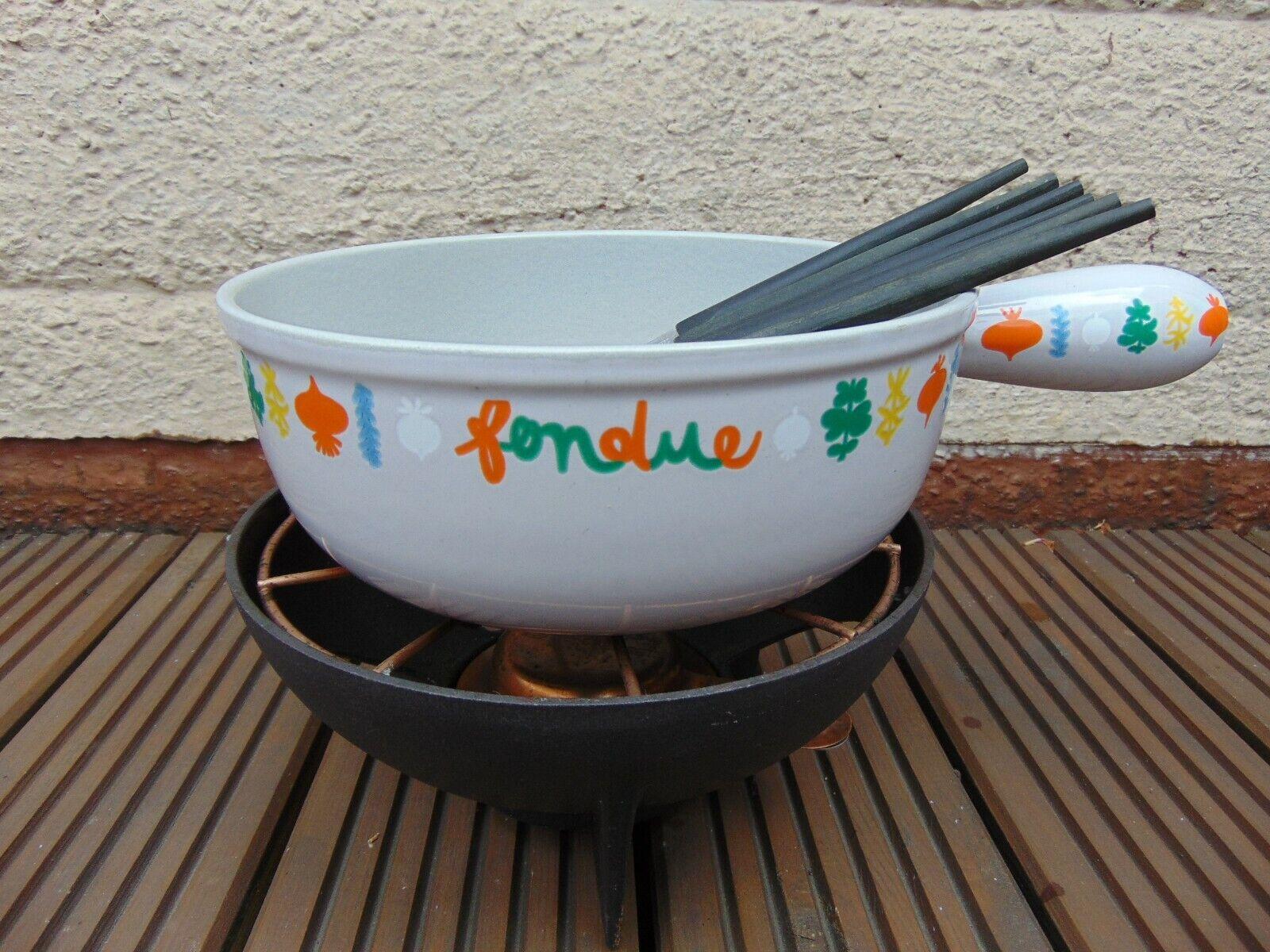 Vintage le creuset fondue Set Avec Support & fourchettes Large Légumes Design Bol