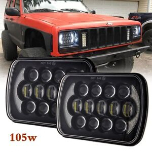 2X-Black-105W-5x7-034-7x6-034-inch-Led-Headlight-DRL-For-Jeep-Cherokee-XJ-DOT-Approved
