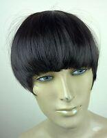 black clip in on fake fringe bangs hair extension hair piece fancy dress
