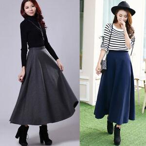 2aa5b005d Ladies A-line Thick Wool Pleated Skirt Slim Retro Long Warm Maxi ...