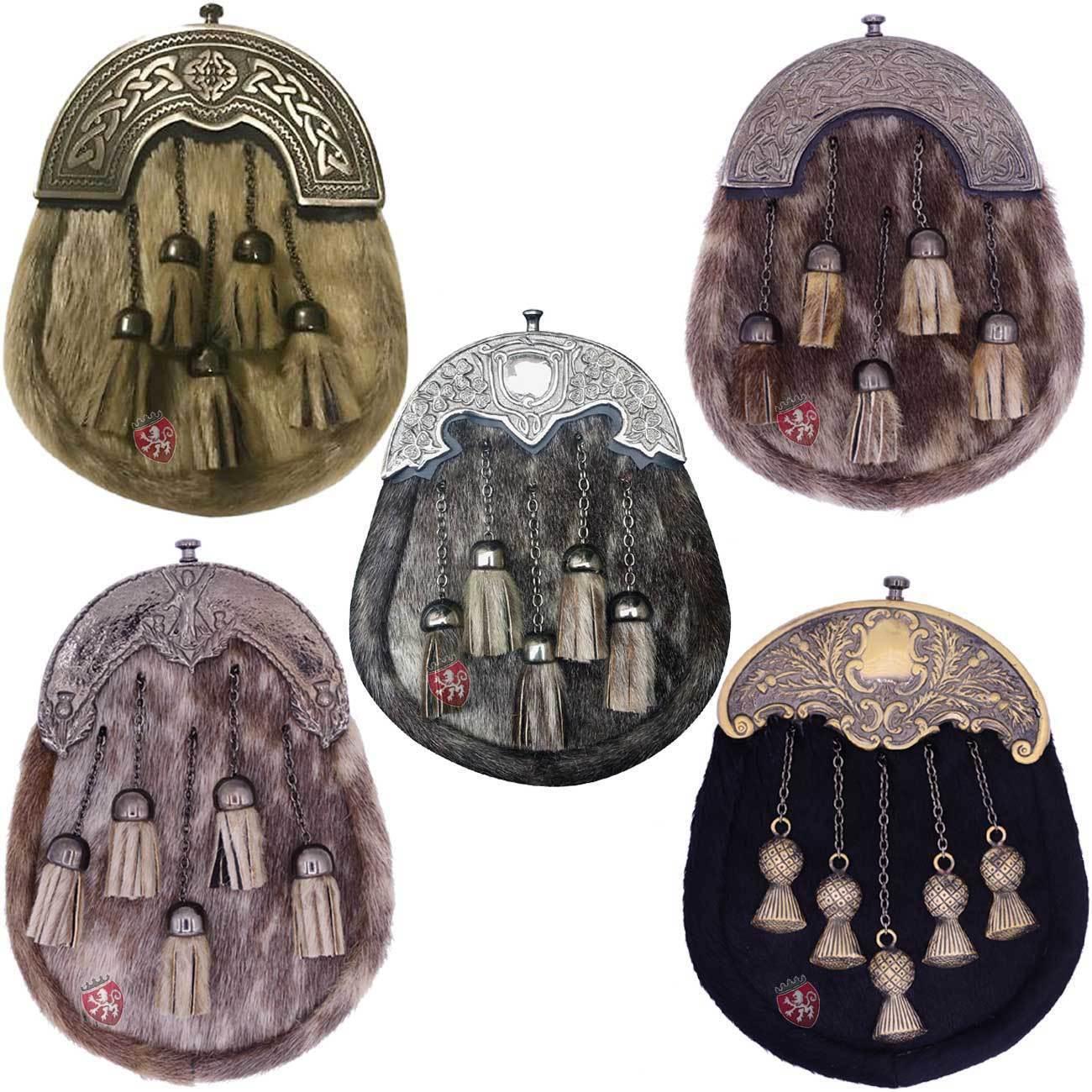 Men's Dress Kilt Sporran Formal Seal Skin Celtic Cantle Antique Various Design