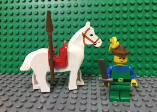 LEGO Vintage Castle Blue Torso Forestman Minifigure CAS136 6071 w// Horse Weapon