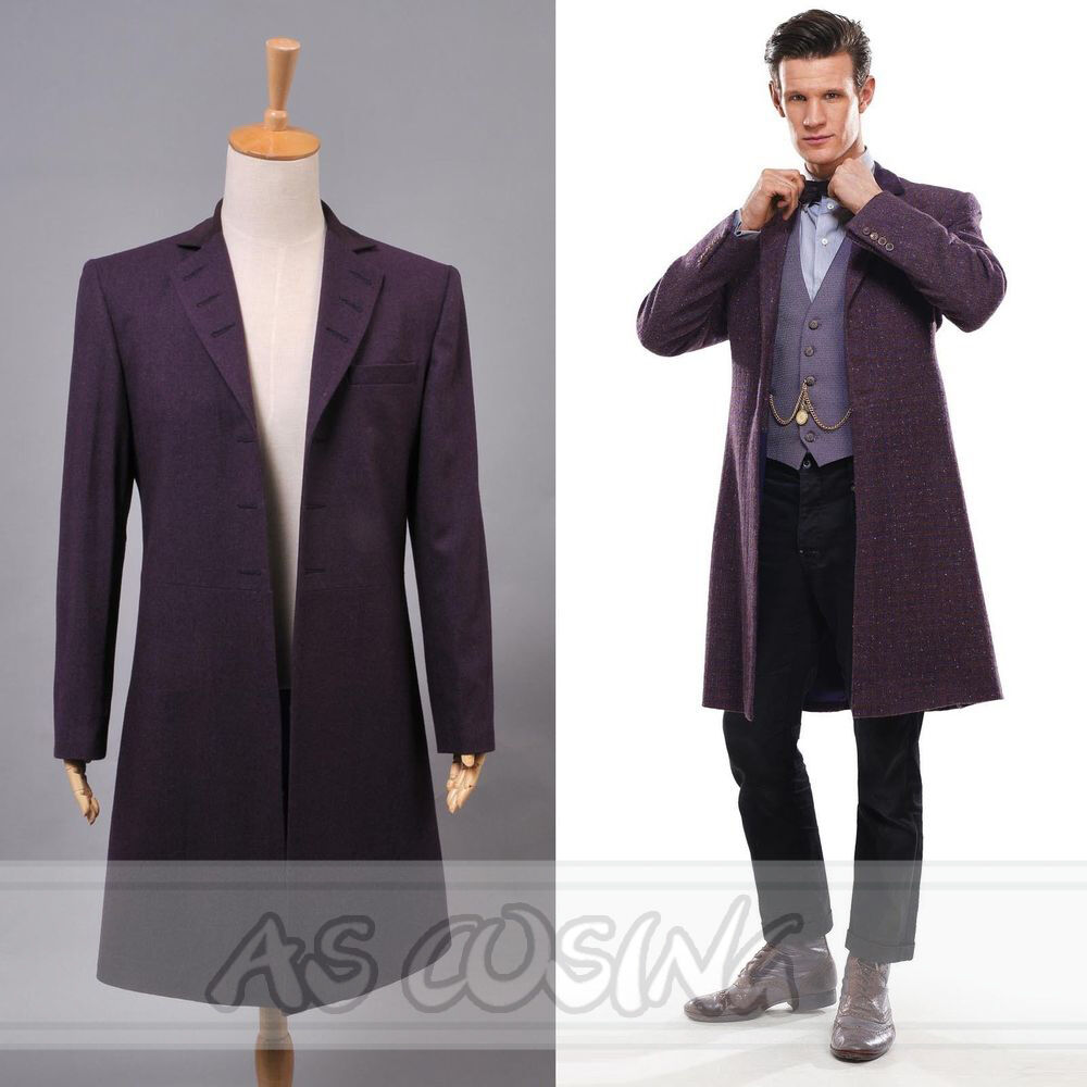 Doctor Dr. Who - 11th Dr. Purple Long Coat Halloween Cosplay Costume Windbreaker