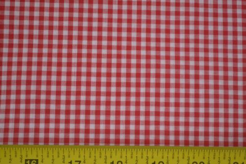 """M7481 Red /& White 1//8/"""" Cotton Gingham 35/"""" Long x 44/"""" Wide Slightly-Sheer"""