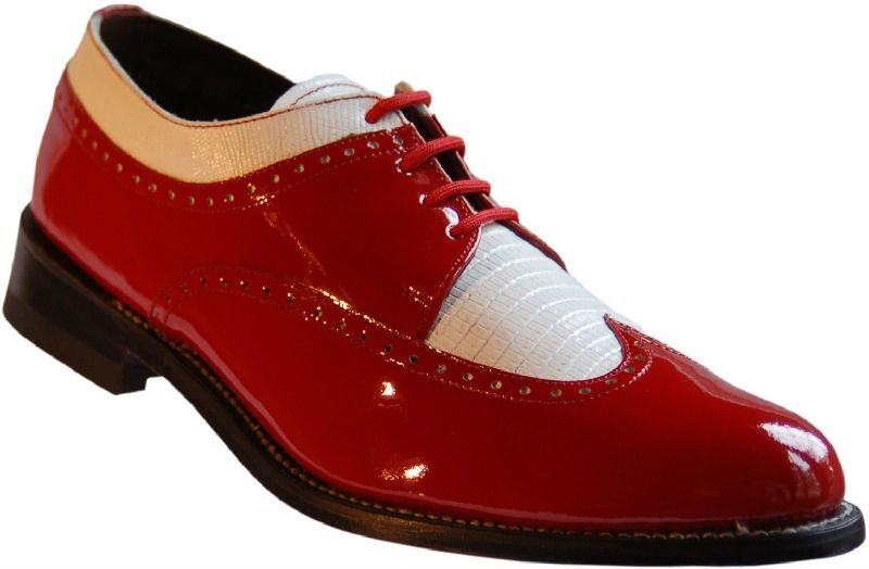 Mens Red and White Formal Spectators Wingtip shoes