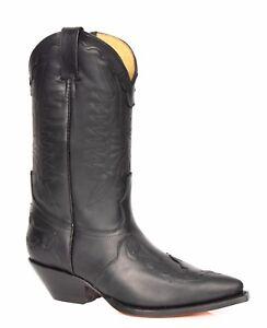 Design Slip Cowboy Leather Toe stivali Pointed nero Stitch On Grinders Uomo BfzqwOx6