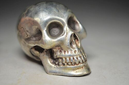 EXQUISITE CHINESE MIAO SILVER Copper HANDWORK CARVED SKULL HEAD STATUE
