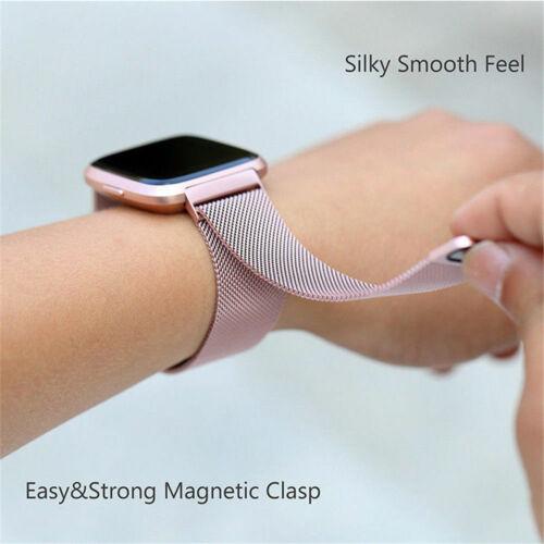 Milanese Loop Edelstahl Mesh Uhren Armband Für Fitbit Versa Magnetverschluss Neu
