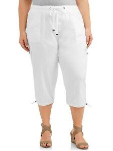 NEW Womens Knit Capri Pants Plus Size 3X White w// Black Drawstring Pockets