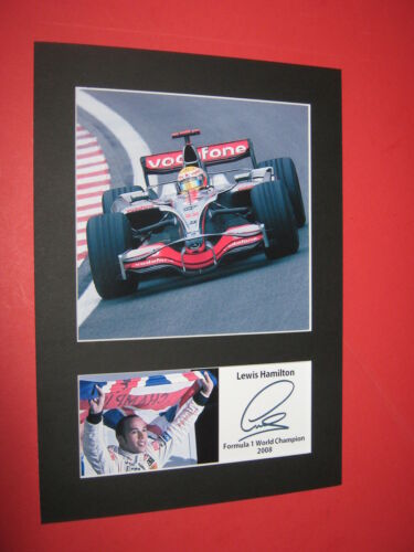 LEWIS HAMILTON FORMULA 1 WORLD CHAMPION 2008 MOUNT SIGNED REPRINT AUTOGRAPH