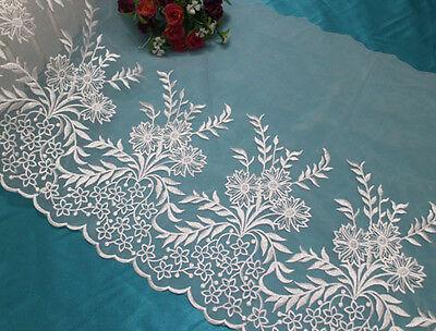 "13""*1yard Embroidered Off White Organza Lace Fabric Trim~Bridal Wedding"