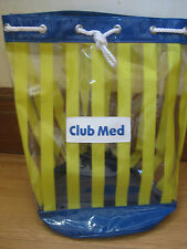 CLUB MED VINTAGE JUMBO BEACH POOL TOTE BAG Clear Striped Plastic; Rope Handles