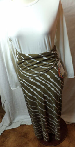 NWT Roxy  Olive and White Tiger Print Way Out Fold Over Maxi Skirt  Small   F340
