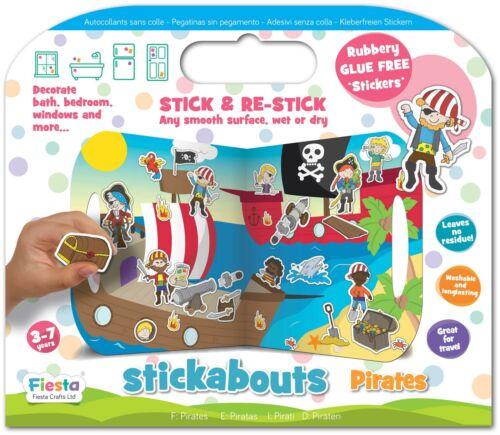 Fiesta Crafts STICKABOUTS PIRATES Reusable Sticker Toy BN