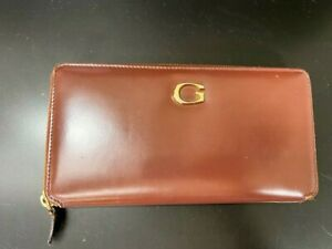 Auth-GUCCI-G-Logo-Brown-Leather-Long-Wallet-Round-Zippy-purse-Italy-Y-1023