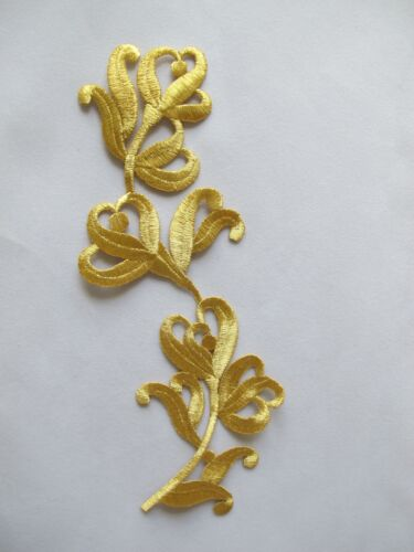 #2828 Gold,Silver Trim Fringe Leaves,Flower Embroidery Iron On Applique Patch