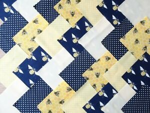 50-X-5-INCH-SQUARES-COTTON-PATCHWORK-FABRIC-CHARM-PACK-NAVY-LEMON-BEE