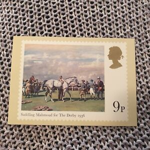 Horse-Racing-Saddling-Mahmoud-for-the-Derby-Royal-Mail-Stamp-Postcard