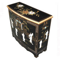Mother Of Pearl Oriental Furniture - Black Lacquer Tv Stand