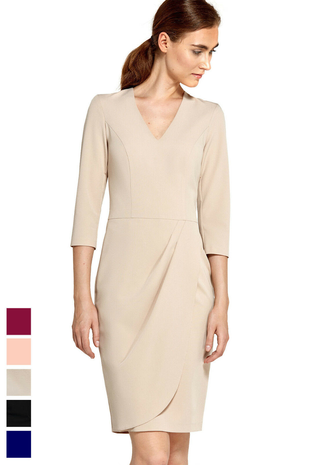 Damen Abend Kleid Etuikleid mit Drapierung 3 4 Arm Knielang V Ausschnitt Neu | Exzellente Verarbeitung  | Roman