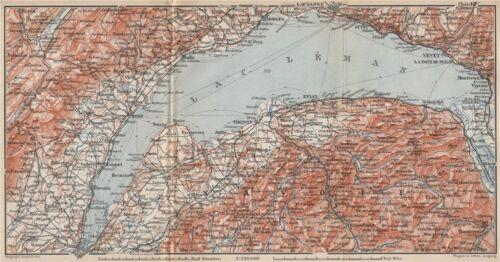 LAKE GENEVA//LAC LÉMAN St Cergue Chatel St Jean d/'Aulph Lausanne Evian 1897 map