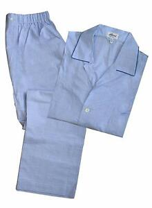Brioni-Men-039-s-Light-Blue-Check-100-Cotton-Pajamas-L
