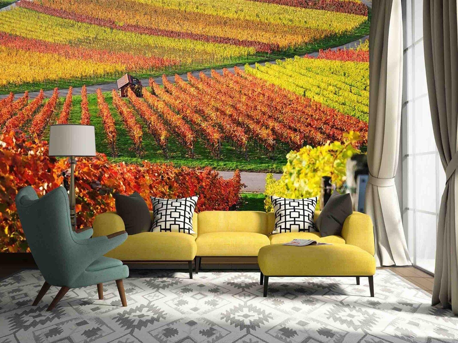 3D goldene Felder Gehweg 8549 Tapete Wandgemälde Tapeten Bild Familie DE Lemon