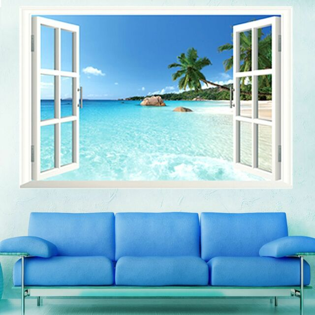 Wholesale 3D Window Ocean Beach Wall Sticker Decals Room Decor Vinyl Removable S