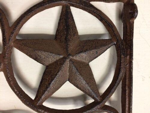 Antique Rustic Brown patina cast iron SET OF 2 WESTERN STAR SHELF BRACKET//BRACE