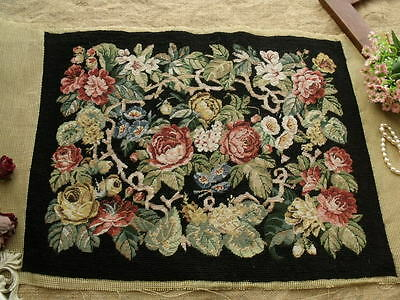 AntiQue Vtg Completed Needlepoint Canvas Tapestry ~VICTORIAN cabbage ROSE EDEN