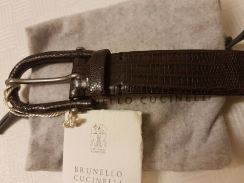 Brunello Cucinelli Cap Lizard-Skin M Unisexe Ceinture Marron