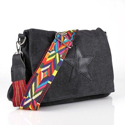 Cross Bag Schulter Tasche Leder Jeans Stoff Shopper Stern Trage Gurt Riemen Bunt