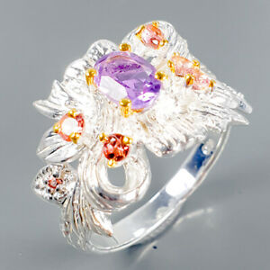 Unique-Natural-Amethyst-925-Sterling-Silver-Ring-Size-8-75-R102604