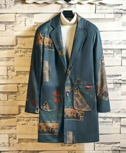 Mens-Youth-Korean-Fashion-Printed-Blazer-Loose-Trench-Coat-Jacket-Outwear-BGHE