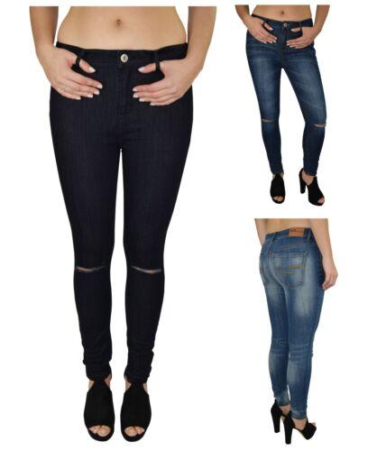 Femmes taille haute stretch skinny déchiré jeans délavé slim jegging denim pantalon