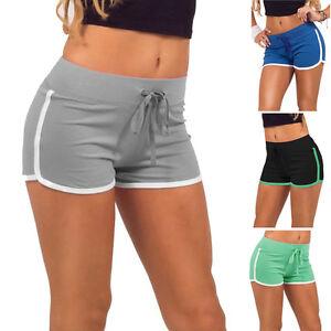 Mujeres-Damas-Verano-deporte-gimnasio-entrenamiento-cintura-elastica-Shorts-Pantalones-Ajustados
